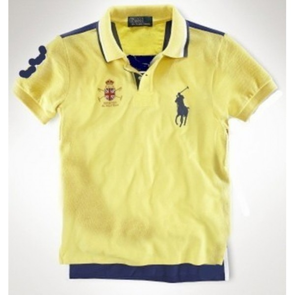 Ralph Lauren Fashionable Design,Mens Custom-Fit Crested Polo Yellow