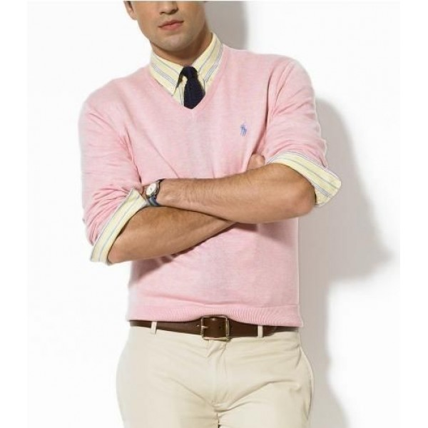 US Real Ralph Lauren,Men's Sweater Polo Cotton V-Neck Pink