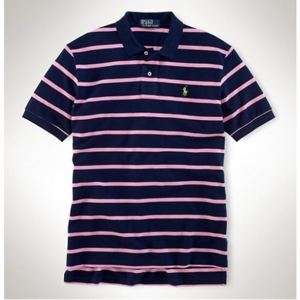 Ralph Lauren Outlet Online Shopping,Stripe Polo Custom Leisure Breathable Pink Navy