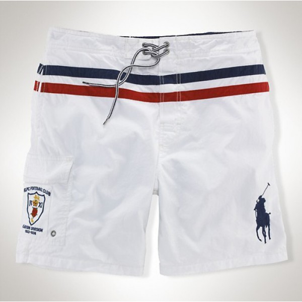 Stores Ralph Lauren,Crest polo shorts in white with black pony