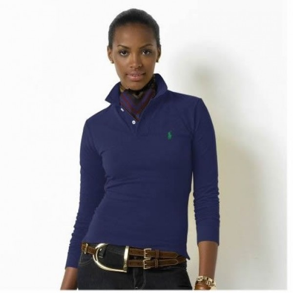 Ralph Lauren Reliable Quality,Women's Skinny Long-Sleeved Polo Shirt Navy