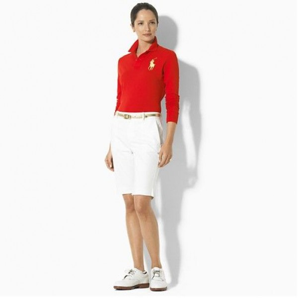Ralph Lauren Good Product,Big Pony Polo Long Sleeved In Red