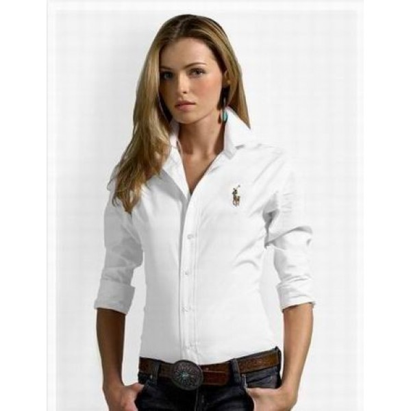 Purple Pink Ralph Lauren,Womens White solid skinny oxford long sleeves shirts