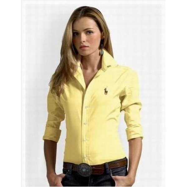 Products Ralph Lauren,Womens Yellow solid skinny oxford shirts outlet
