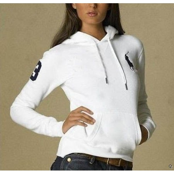Ralph Lauren Just For You,Polo Hoody white women with 3 flag